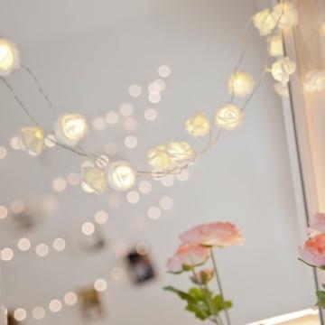 20er LED Rosen Lichterkette warmweiß batteriebetrieben - 3