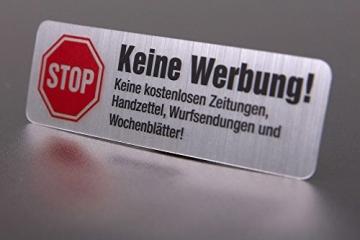 4 Keine Werbung Aufkleber im hochwertigen Edelstahl-Look - Einzeln abziehbar (Keine kostenlosen Zeitungen, Handzettel, Wurfsendungen und Wochenblätter!) immi.de® - 2