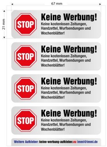 4 Keine Werbung Aufkleber im hochwertigen Edelstahl-Look - Einzeln abziehbar (Keine kostenlosen Zeitungen, Handzettel, Wurfsendungen und Wochenblätter!) immi.de® - 3