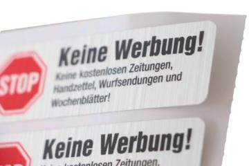4 Keine Werbung Aufkleber im hochwertigen Edelstahl-Look - Einzeln abziehbar (Keine kostenlosen Zeitungen, Handzettel, Wurfsendungen und Wochenblätter!) immi.de® - 4