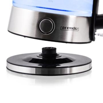 Arendo - Edelstahl-Glas-Wasserkocher inkl. LED-Innenbeleuchtung | Edelstahl-Glas-Optik | STRIX-Controller | integrierter Kalkfilter | 1,7 Liter | 2200 Watt | automatische Abschaltung | One-Touch-Verschluss - 4