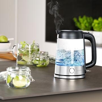 Arendo - Edelstahl-Glas-Wasserkocher inkl. LED-Innenbeleuchtung | Edelstahl-Glas-Optik | STRIX-Controller | integrierter Kalkfilter | 1,7 Liter | 2200 Watt | automatische Abschaltung | One-Touch-Verschluss - 6