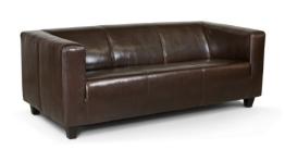 B-famous 3-Sitzer Sofa Kuba 186 x 88 cm, Glanzleder, braun - 1