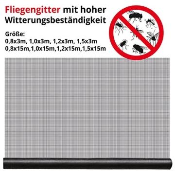 casa pura® Fliegengitter für Fenster und Türen | Zuverlässiger Insektenschutz aus Fiberglas mit Vinyl-Beschichtung | Farbe schwarz | in 2 Längen und 4 Breiten verfügbar (3m x 1m) - 5