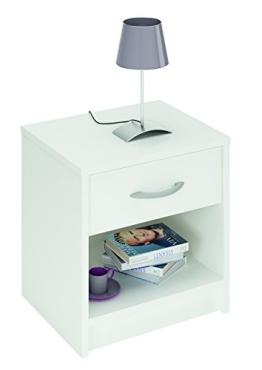 Demeyere 305895 Nachttisch, 1 Schublade, 1 Regal, perle weiß - 1