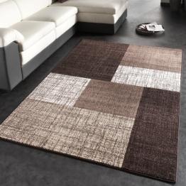Designer Teppich Modern Kariert Kurzflor Teppich Design Meliert In Braun Creme - 1