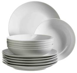Domestic by Mäser, 920498 Serie Barca, Tafelservice 12-teilig mit je 6 Teller tief und flach, schlichtes, weißes Porzellan mit klassischer Form - 1