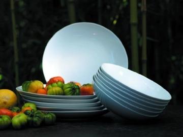 Domestic by Mäser, 920498 Serie Barca, Tafelservice 12-teilig mit je 6 Teller tief und flach, schlichtes, weißes Porzellan mit klassischer Form - 3