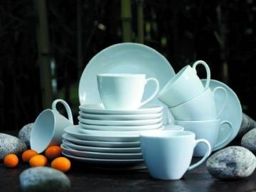 Domestic by Mäser, 920498 Serie Barca, Tafelservice 12-teilig mit je 6 Teller tief und flach, schlichtes, weißes Porzellan mit klassischer Form - 4