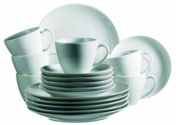 Domestic by Mäser, 920498 Serie Barca, Tafelservice 12-teilig mit je 6 Teller tief und flach, schlichtes, weißes Porzellan mit klassischer Form - 5