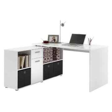 FMD Möbel 353-001 Winkelkombination LEX Tisch circa 136 x 75 x 68 cm, montiert Regal circa 137 x 71 x 33 cm, weiß - 1