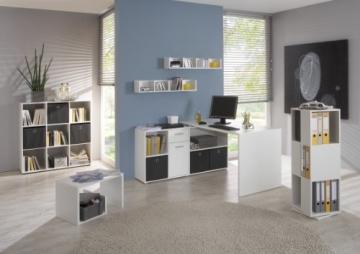 FMD Möbel 353-001 Winkelkombination LEX Tisch circa 136 x 75 x 68 cm, montiert Regal circa 137 x 71 x 33 cm, weiß - 2