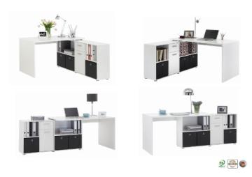 FMD Möbel 353-001 Winkelkombination LEX Tisch circa 136 x 75 x 68 cm, montiert Regal circa 137 x 71 x 33 cm, weiß - 3