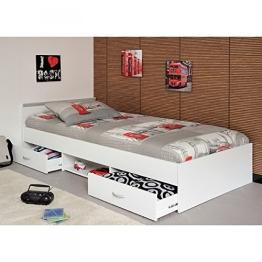 Funktionsbett Alawis 90*200 cm weiß inkl 2 Roll-Bettkästen Kinderbett Jugendbett Jugendliege Bettliege Bett Jugendzimmer Kinderzimmer 1251 - 1