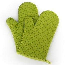 Ioven Topfhandschuhe,2-teilig,silikon & Baumwolle,Topflappen (grün) - 1