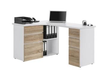 MAJA-Möbel 9543 3925 Schreib- und Computertisch, Icy-weiß - Sonoma-Eiche-Nachbildung, Abmessungen BxHxT: 145 x 76,6 x 101,5 cm - 2