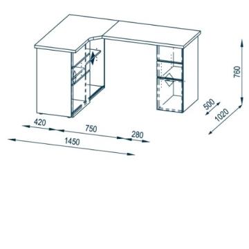 MAJA-Möbel 9543 3925 Schreib- und Computertisch, Icy-weiß - Sonoma-Eiche-Nachbildung, Abmessungen BxHxT: 145 x 76,6 x 101,5 cm - 3