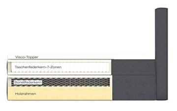 Möbelfreude Boxspringbett Bea, gesteppt, 7-Zonen Taschenfederkern, Visco Topper Polsterbett, Anthrazit H3, 200x200cm - 4