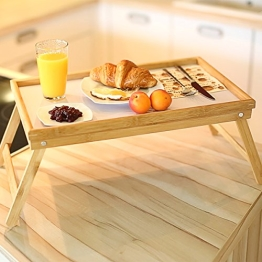 Relaxdays 10013869 Bett Tabletttisch Sofatisch Serviertablett für Frühstück mit klappbaren Beinen Kunststoff-Fläche, Bambus Holz, 50 x 31 cm, natur / weiß - 2