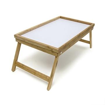Relaxdays 10013869 Bett Tabletttisch Sofatisch Serviertablett für Frühstück mit klappbaren Beinen Kunststoff-Fläche, Bambus Holz, 50 x 31 cm, natur / weiß - 3