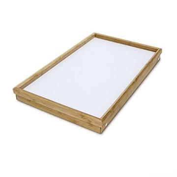 Relaxdays 10013869 Bett Tabletttisch Sofatisch Serviertablett für Frühstück mit klappbaren Beinen Kunststoff-Fläche, Bambus Holz, 50 x 31 cm, natur / weiß - 4
