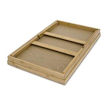 Relaxdays 10013869 Bett Tabletttisch Sofatisch Serviertablett für Frühstück mit klappbaren Beinen Kunststoff-Fläche, Bambus Holz, 50 x 31 cm, natur / weiß - 5