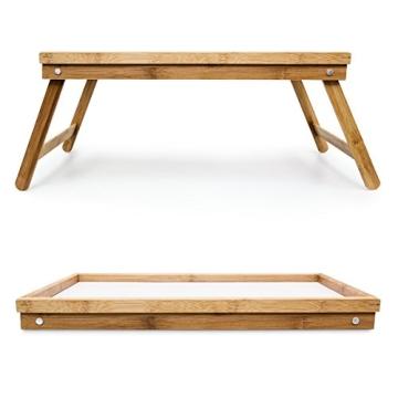 Relaxdays 10013869 Bett Tabletttisch Sofatisch Serviertablett für Frühstück mit klappbaren Beinen Kunststoff-Fläche, Bambus Holz, 50 x 31 cm, natur / weiß - 6
