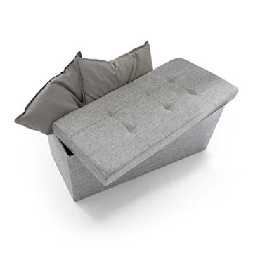 Relaxdays 10019048_111 Sitzbank mit Stauraum, 76 x 38 x 38 cm aus Leinen, faltbar, grau - 1