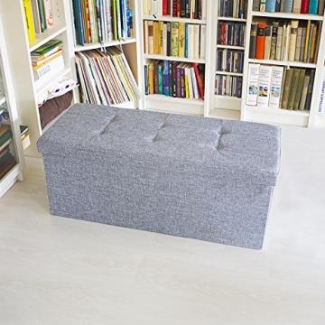 Relaxdays 10019048_111 Sitzbank mit Stauraum, 76 x 38 x 38 cm aus Leinen, faltbar, grau - 2