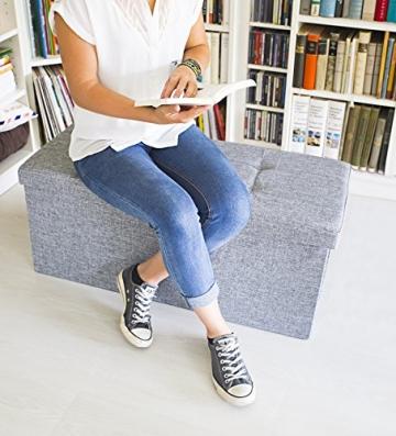 Relaxdays 10019048_111 Sitzbank mit Stauraum, 76 x 38 x 38 cm aus Leinen, faltbar, grau - 3