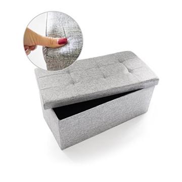 Relaxdays 10019048_111 Sitzbank mit Stauraum, 76 x 38 x 38 cm aus Leinen, faltbar, grau - 4