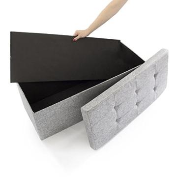 Relaxdays 10019048_111 Sitzbank mit Stauraum, 76 x 38 x 38 cm aus Leinen, faltbar, grau - 5