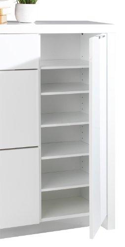 Schuhschrank weiß 2 Klappen 1 Schublade Sandor - 3