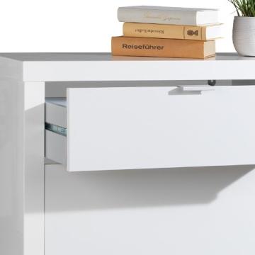 Schuhschrank weiß 2 Klappen 1 Schublade Sandor - 4