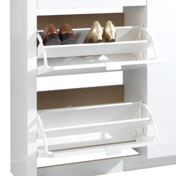 Schuhschrank weiß 2 Klappen 1 Schublade Sandor - 6