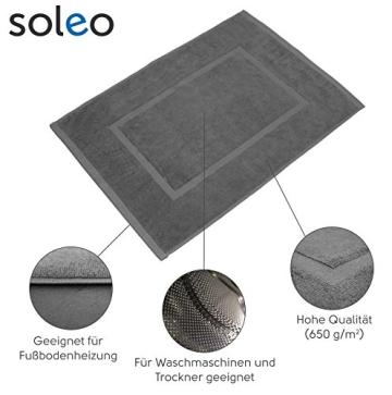 SOLEO Badvorleger Anthrazit Grau 50 x 70cm in Premium Qualität 650 g/m² Badematte Badteppich Duschvorleger I 2 Jahre Zufriedenheitsgarantie - 2