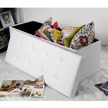 Songmics 110 x 38 x 38 cm Faltbarer Sitzhocker Belastbar bis 300 kg Sitzwürfel Aufbewahrungsbox Weiß LSF702 - 2