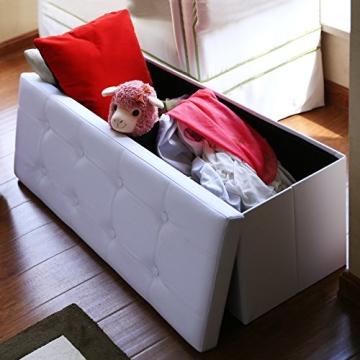 Songmics 110 x 38 x 38 cm Faltbarer Sitzhocker Belastbar bis 300 kg Sitzwürfel Aufbewahrungsbox Weiß LSF702 - 3