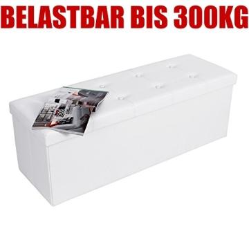 Songmics 110 x 38 x 38 cm Faltbarer Sitzhocker Belastbar bis 300 kg Sitzwürfel Aufbewahrungsbox Weiß LSF702 - 5