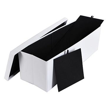 Songmics 110 x 38 x 38 cm Faltbarer Sitzhocker Belastbar bis 300 kg Sitzwürfel Aufbewahrungsbox Weiß LSF702 - 6