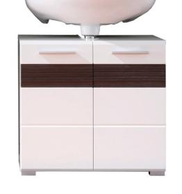 Trendteam MZ30112 Bad Waschbeckenunterschrank weiß Dekor mit Fronten in weiß Hochglanz,Absetzungen in Melinga Dark Oak Rillenstruktur, BxHxT 60x56x34 cm - 1