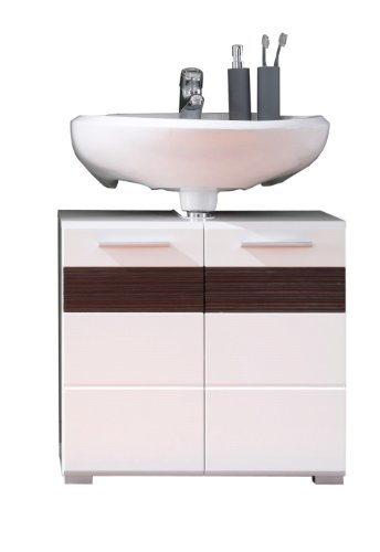 Trendteam MZ30112 Bad Waschbeckenunterschrank weiß Dekor mit Fronten in weiß Hochglanz,Absetzungen in Melinga Dark Oak Rillenstruktur, BxHxT 60x56x34 cm - 2