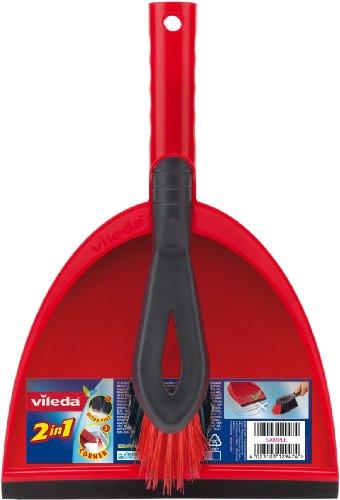 Vileda 141743 Kehrset 2-in-1 - sauber Auffegen in einem Zug - mit extra Borsten für Sauberkeit in den Ecken - leicht verstaubar - 1