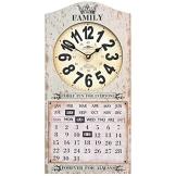 Wanduhr mit Kalender Family Fun Shabby Chic Beige Viereckig 25x50cm Deko Uhr - 1