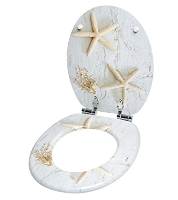 WC Sitz mit Absenkautomatik, viele schöne WC Sitze zur Auswahl, hochwertige und stabile Qualität aus Holz (Seestern Grau) - 4