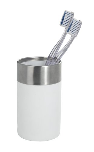 WENKO 19970100 Zahnputzbecher Creta White - Soft-Touch, Kunststoff - Polystyrol, 7 x 11.1 x 7 cm, Weiß - 2