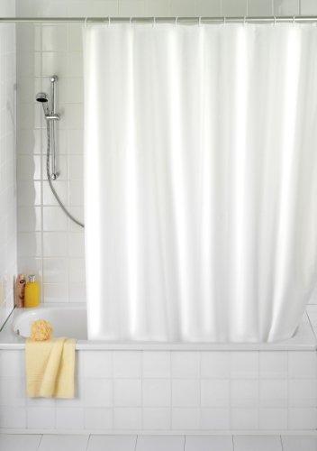 WENKO 20151100 Anti-Schimmel Duschvorhang Uni White - Anti-Bakteriell, waschbar, mit 12 Duschvorhangringen, 100 % Polyester, Weiß - 1