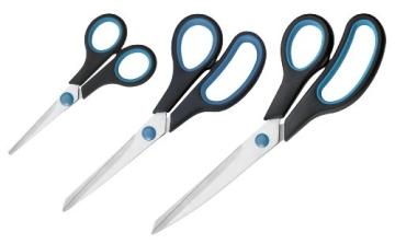 Westcott N-90027 00 Easy Grip Scheren Set, 3 Stück, 13cm + 21cm + 25 cm, schwarz-blau - 1